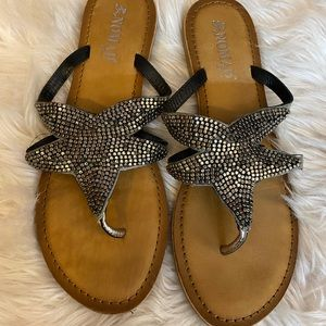 Silver studded seashell nomad sandals size 9
